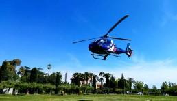 Helicóptero ateriizando en Helipuerto Mass Passamaner